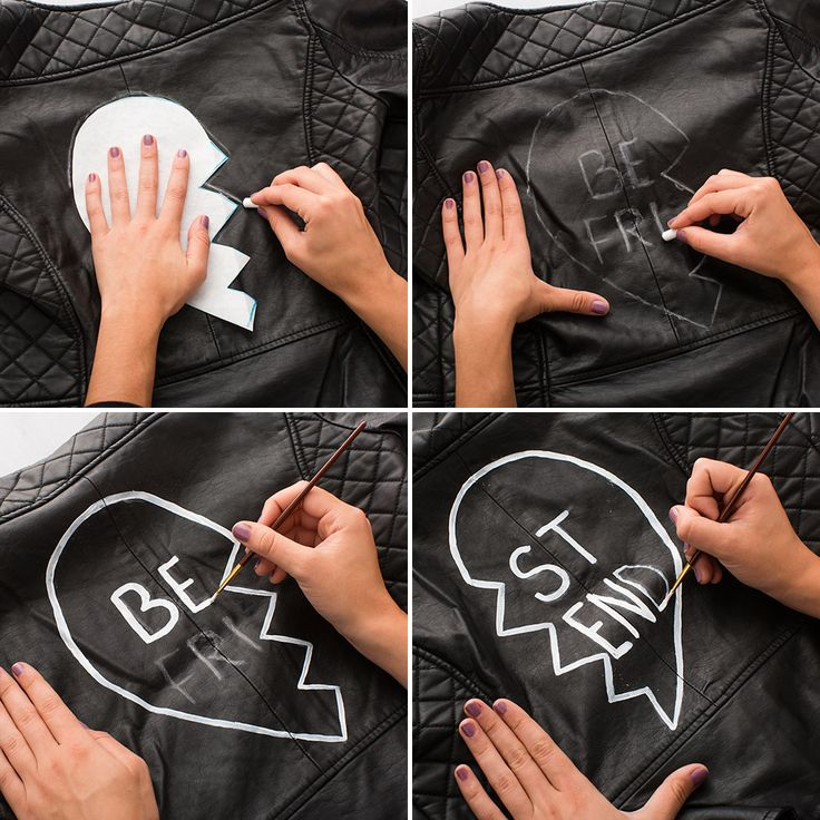Take leather jackets to the next level using paper, tailor's chalk + white leather paint.