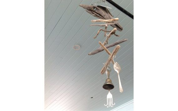 Spoon Fork Bell  Upcycled cutlery windchime or mobile. Beach themed with driftwood. https://www.etsy.com/ca/listing/195490266/spoon-fork-bell-upcycled-cutlery Coupon Code FRIDAY2014 for 20%