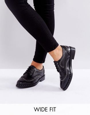 56f73e6a3530 ASOS MONTEREY Wide Fit Leather Studded Flat Shoes