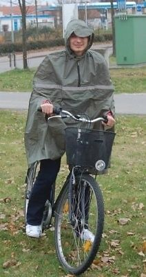 Fahrrad-Regenponcho-Regenumhang-oliv-Umhang-Fahrradregencape-Regencape-gruen-neu