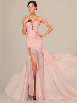 Abiti da Ballo Chiffon Rosa Perla Perline Lussuoso TPOD11028