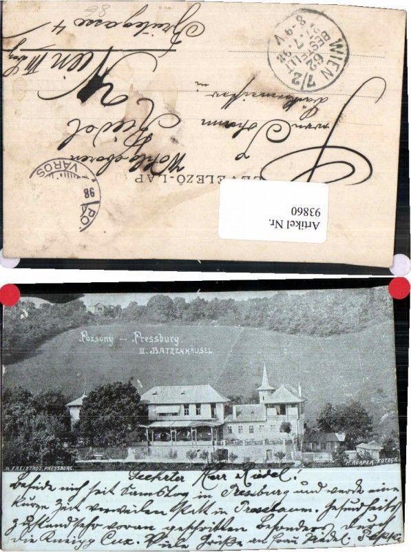 93860;RARE Pozsony Pressburg Batzenhäusel 3. Gasthaus 1