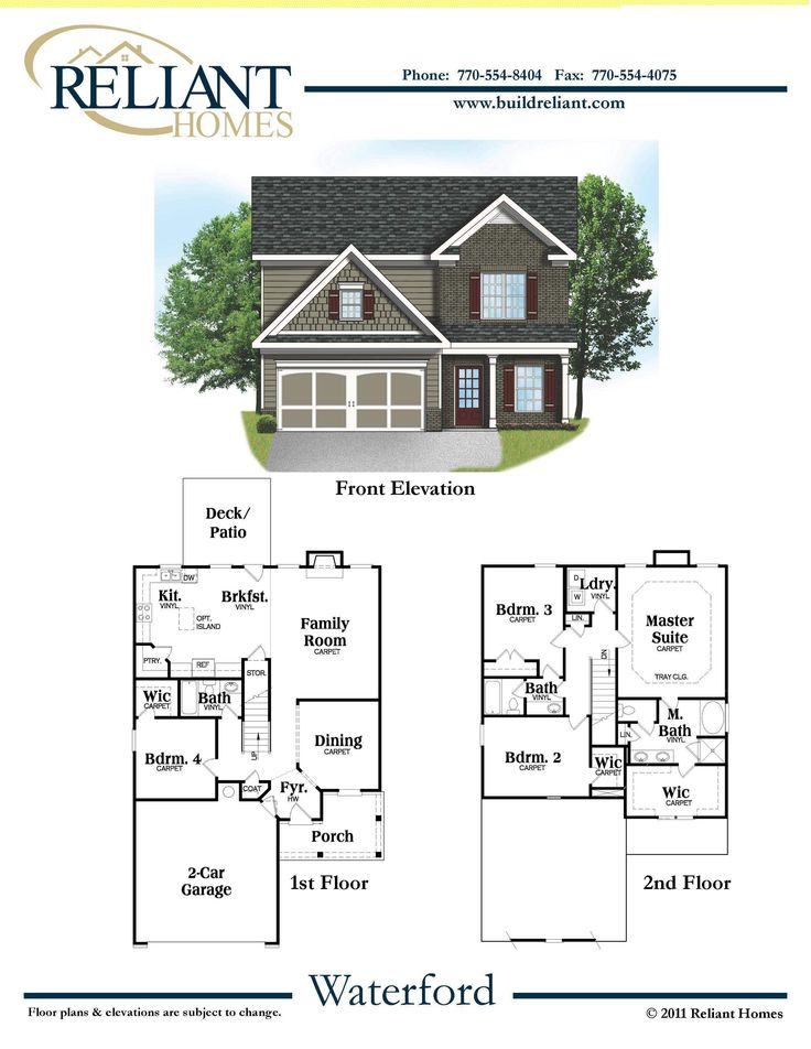 Reliant Homes | The Waterford Plan | Floor Plans | Homes | Homes for Sale | Dream Home | 2 Story Home