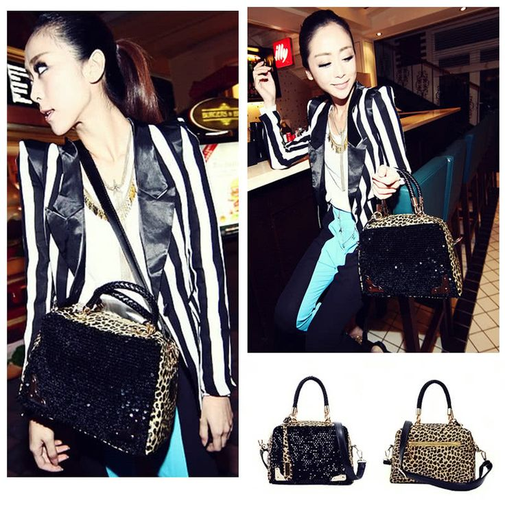 Cheap Array Array Fashion Casual Women Handbag PU Leather Leopard Print Paillette Sequin Shoulder Messenger Bag Online Shopping | Tomtop