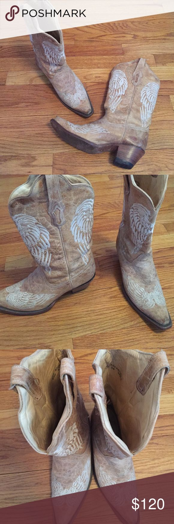 Corral Cowboy(girl) Boots Bought these last summer. They're very broken in (which alone id be willing to pay $100 for!! Painful process!). They have never seen mud, dirt or gravel. Only used on wood floors to dance on. In great, broken in condition which gives them character. Corral Shoes
