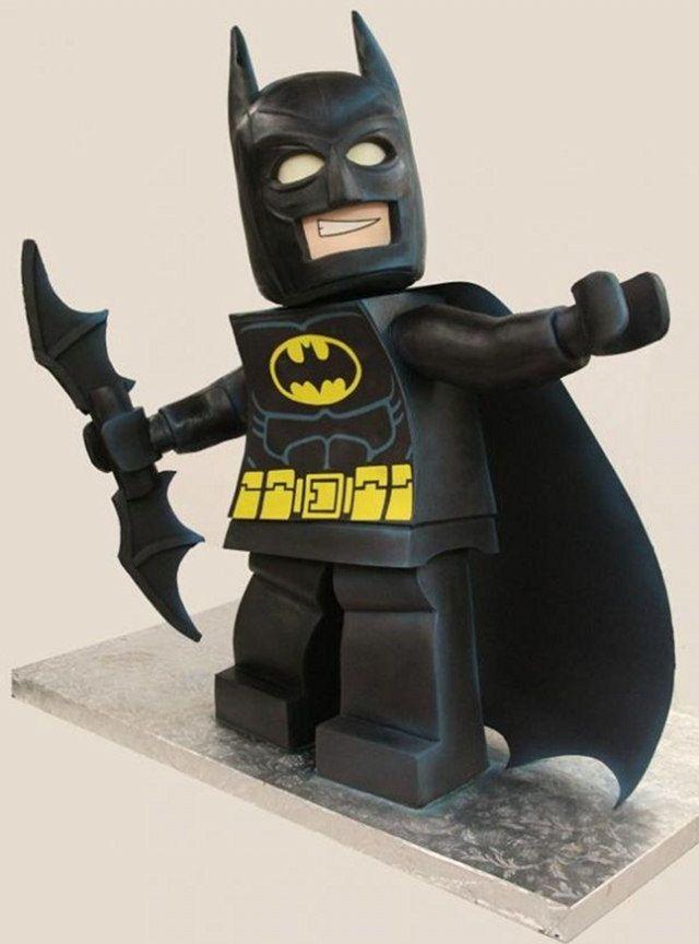 3 ft Lego Batman Minifigure cake. And he's not wearing hockey pants