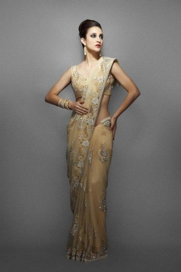 Gold net sari with silver