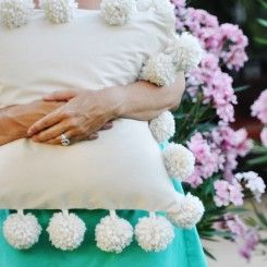 Mondo Pom trim pillow (could do smaller pom-pom trim, as well)