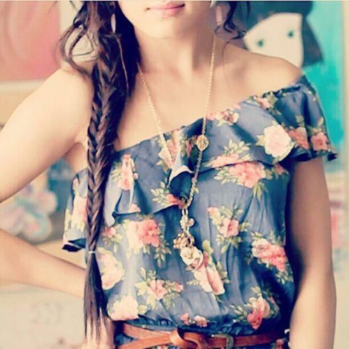 Floral Prints, Summer Outfit, Style, Shirts, Long Hair, Flower Prints, One Shoulder, Fishtail Braids, The Dresses