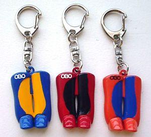 Cute OBO keychain for field hockey goalies!