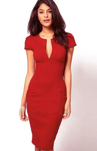 Wine Red V Neck Short Sleeve Slim Bodycon Dress 18.50