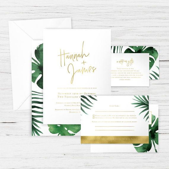 005 - 'Monstera Gold' Wedding Suite - Tropical, Palm, Leaves - Main Invitation, RSVP, Wishing Well/Registry Card, Envelopes - Custom Design