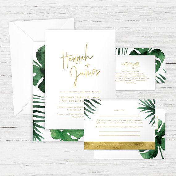 005 - 'Monstera Gold' Wedding Suite - Tropical, Palm, Leaves - Main Invitation, RSVP, Wishing Well/Registry Card, Envelopes - Custom Design