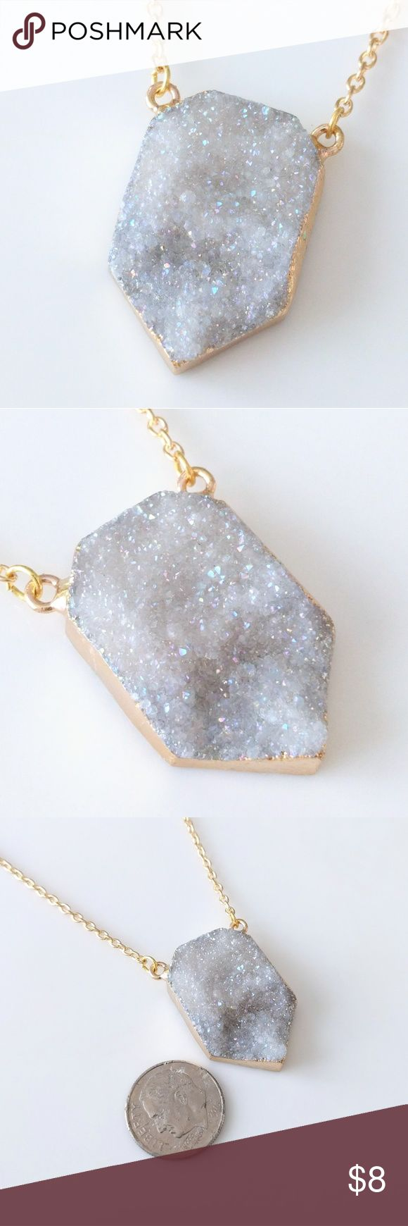 """Gold-plated genuine agate druzy shield necklace Nickel-free chain measures about 18"""".  Aurora borealis iridescence.  PRICE IS FIRM and extremely reasonable; click """"add to bundle"""" to save 10% on your purchase of 2+ items today! Jewelry Necklaces"""