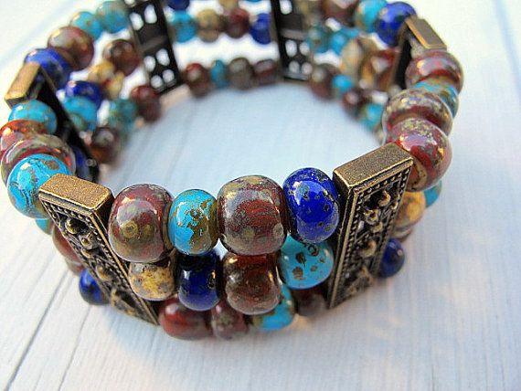 Bohemian Cuff Bracelet:  Czech Glass White Heart by DarkRide