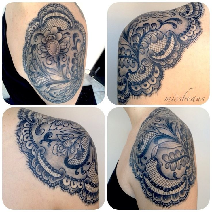 rose cap shoulder tattoo | Lace shoulder cap | worldofbeanstattoo