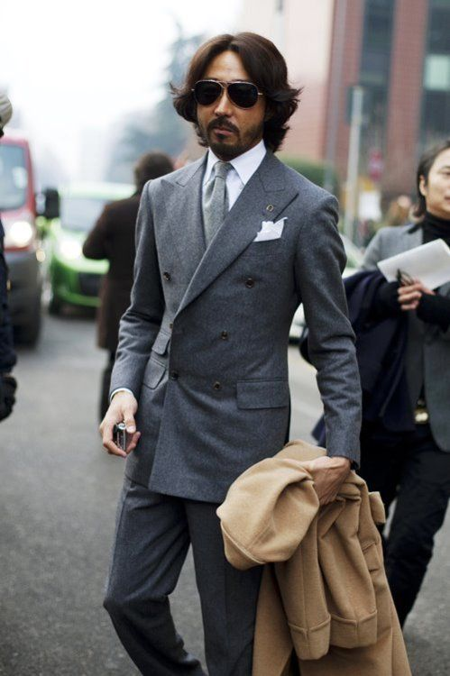 ダブルスーツ着こなしグレーのthepuertoricansocialclub: Mr. Yoshimasa Hoshiba. The most simple colour combinations often make more the most impressive ensembles. Case and point.