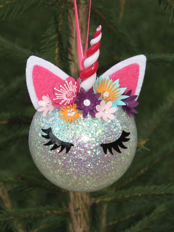 Boule de Noël Licorne paillettes fleurs strass