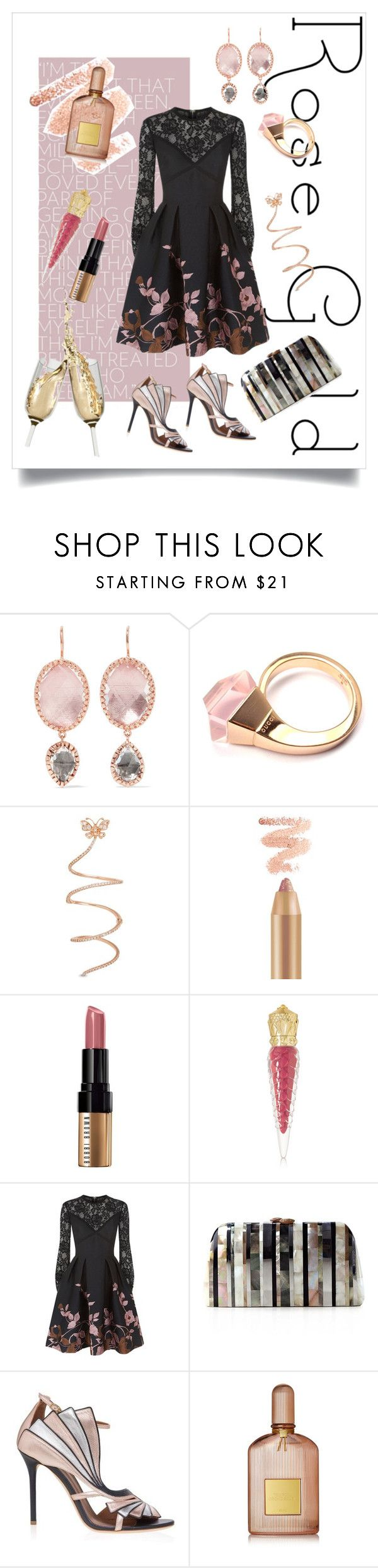 """Rose Gold"" by simpleautumn ❤ liked on Polyvore featuring Larkspur & Hawk, Gucci, Bobbi Brown Cosmetics, Christian Louboutin, Elie Saab, Serpui, Malone Souliers and Tom Ford"