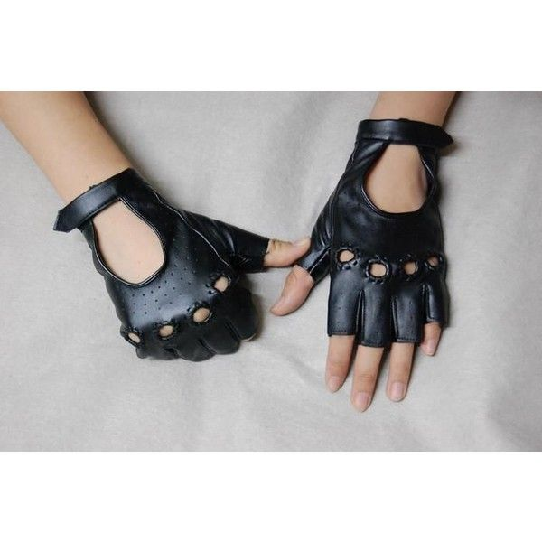 Men Women Black Studded Fingerless Steam Punk Biker Gloves Accessories... ❤ liked on Polyvore featuring mens, men's accessories and men's gloves