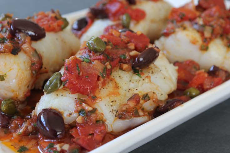 Give dinner tonight a bit of a Mediterranean flair with Pan Roasted Cod with Puttanesca. #FishFriday