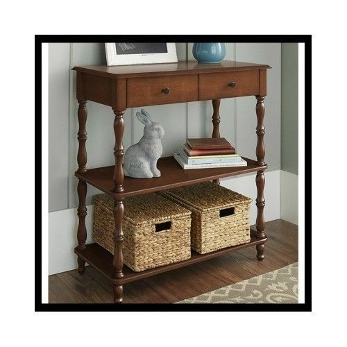 Wood-Console-Table-Hallway-Entry-Living-Room-Furniture-Sofa-Shelves-Lamp-Display