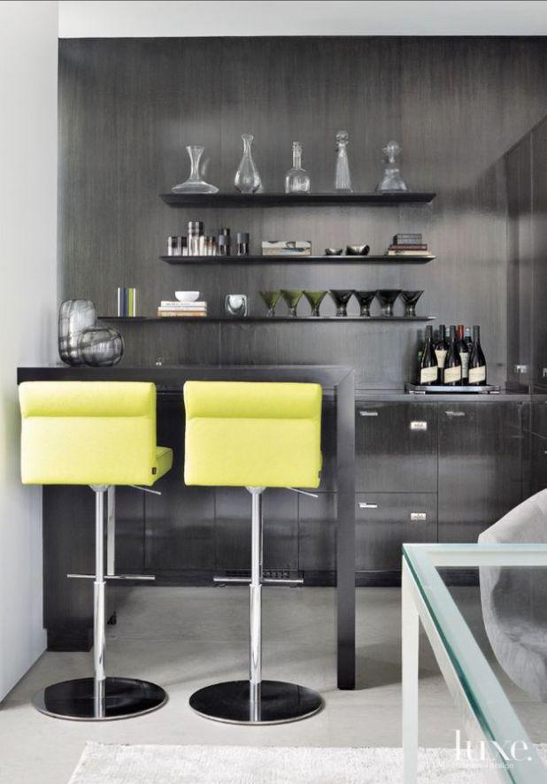 This Dark Sleek Bar Says Hello To Yellow Interior Design MagazineBar