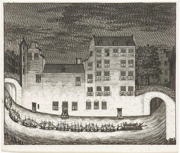 Op 13 juli 1714 vond een groot feest in Utrecht plaats, bestaande uit een gondelvaart, muziekuitvoering op het Janskerkhof en optocht op de Maliebaan, met kanonschoten ter afsluiting. Op de afbeelding is de gondelvaart te zien, ter hoogte de Nieuwe Gracht (Drift) bij de Jansdam. Op de achtergrond het huis Janskerkhof 12. De feestelijkheden werden georganiseerd door de Portugese graaf Joao Gomes da Silva conde de Tarouca ter ere van de geboorte van twee zonen van de Portugese koning Johan V.