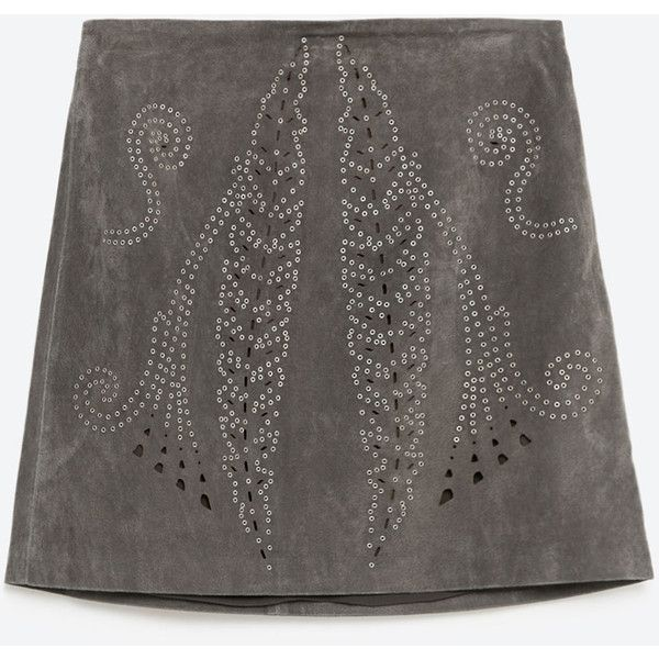Zara Leather Openwork Skirt (395 PLN) ❤ liked on Polyvore featuring skirts, bottoms, khaki, real leather skirt, knee length leather skirt, khaki skirts, zara skirts and leather skirts