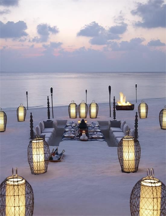 The Amazing Beach Island, Maldives. Imagine a calm evening with your close friends with wine in hand.