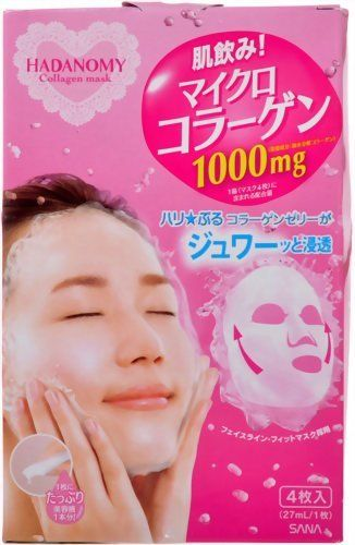 Sana Hadanomy Deep Moisturizing Mask with Collagen - 4 pcs by SANA. $16.60. Straight from Japan. Create a super moisture, soft and supple, and with good elastic skin. Combined of Micro Collagen 1000mg and Hyaluronic Acid, Honey, and Acerola extract. 4pcs (27ml/1pc) Use after Mist Toner. Mask type, Color free, Mineral oil free, Patch test completed, Natural Aroma scent. Sana Hadanomy Deep Mask provides moisture with the combination of Micro Collagen 1000mg and Hyaluronic...
