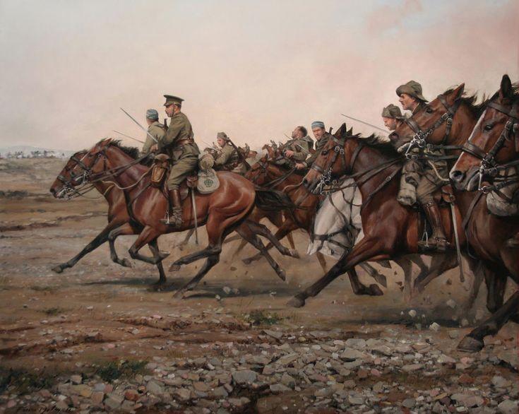 El regimiento Alcántara 14 en la legendaria carga del río Igan el 23 de julio de 1921. Artista Augusto Ferrer Dalmau.