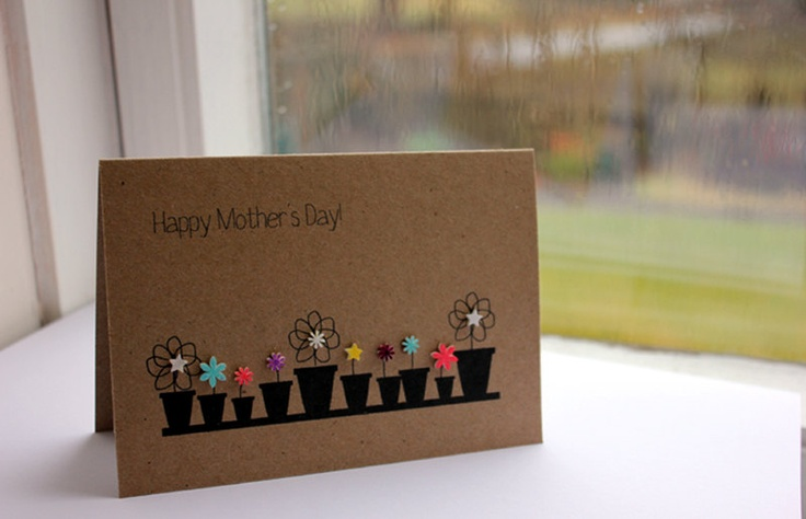 Handmade Mothers Day Card // Mum Card // Mom Card // Flower Pot Card. £3.95, via Etsy.