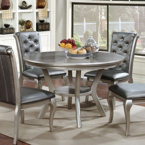Mora Glam 48 Inch Champagne Beige Round Dining Table By Foa