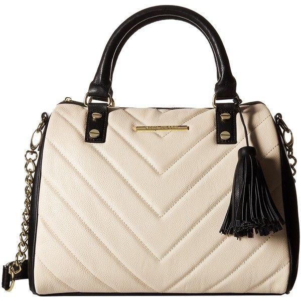 Steve Madden Chevron Barrel Satchel (Bone/Black) Satchel Handbags ($40) ❤ liked on Polyvore featuring bags, handbags, multi, satchel purse, chevron purse, steve madden, quilted purse and hand bags