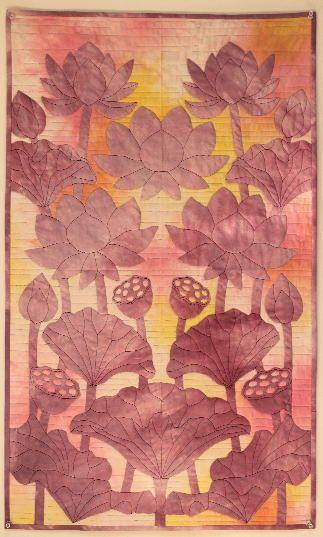 panpan&maimai料理とハワイアンキルト - 蓮の花、縦長タペストリー