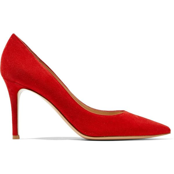 Gianvito Rossi 85 suede pumps (£470) ❤ liked on Polyvore featuring shoes, pumps, gianvito rossi, heels, red, slip on shoes, red suede shoes, red pumps, red high heel shoes and high heeled footwear