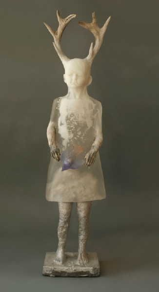 Christina Bothwell   Nature Girl   cast glass, cast aluminum, ceramics,and antlers   46 x 11 x 7 inches