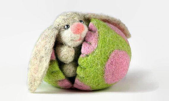 Easter Bunny in a Felt Easter Egg - Pastel Easter Egg - Easter Decorations - Hollow Easter Egg - Surprise Egg - Easter Ornament