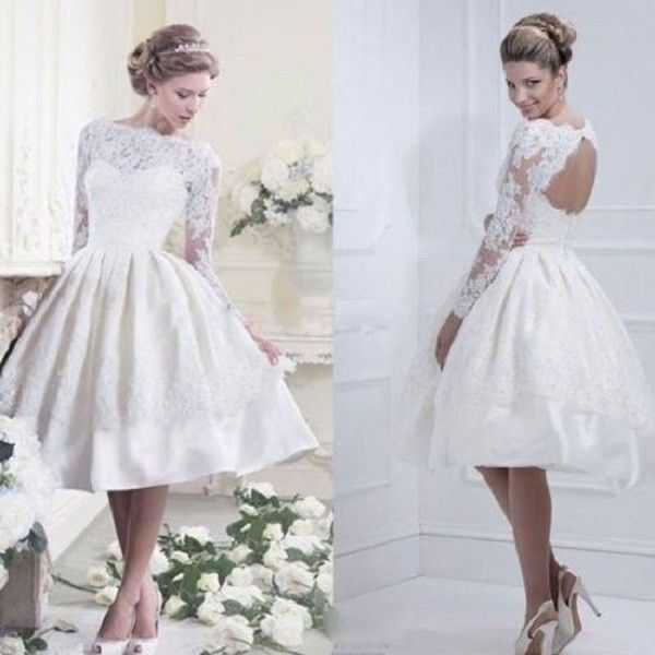 A-line Satin and Lace Beaded Sabrina Neck Long Sleeves Short Wedding Dress Short Ball Gown