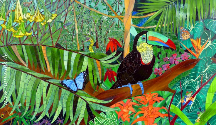 """Rainforest"", 2012, 100x60 cm, stained glass mosaic by Rhonda Doenges See more of my artwork at www.rdmosaik.de"