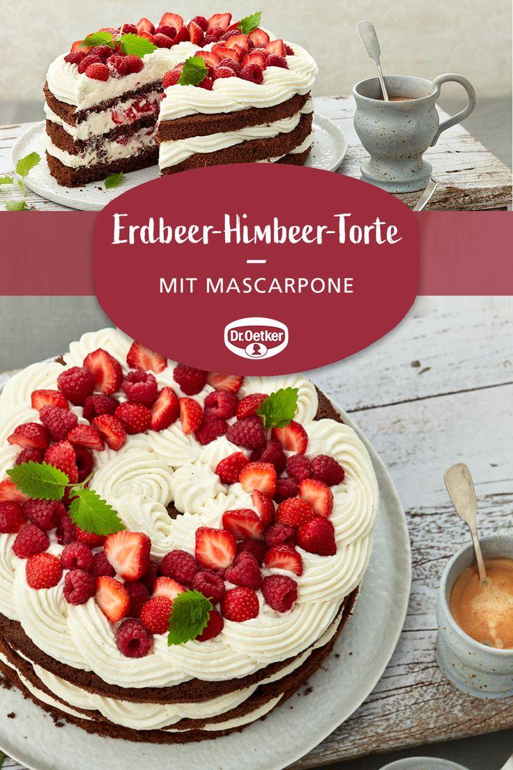 Erdbeer-Himbeer-Sahne-Mascarpone-Torte