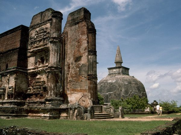 Many of the Buddhist ruins in the ancient city of Polonnaruwa date from the 12th century.- Sri Lanka