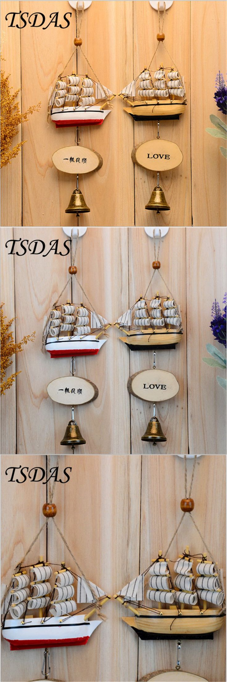Fancy Wind Chime 1pc Mediterranean Style Nautical Home Decor Creative Wood Sailing Ship Wind Bell Birthday Gift Free Shipping $6