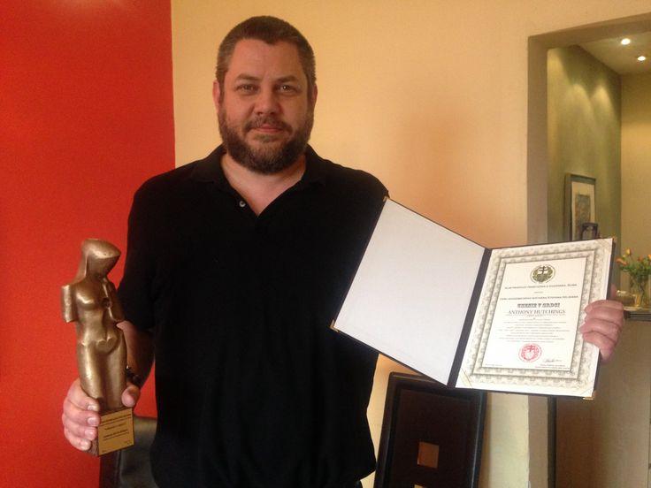 Anthony Hutchings awarded 'Art in the Heart' by Stefan Pelikan VP, European Union  of  Art