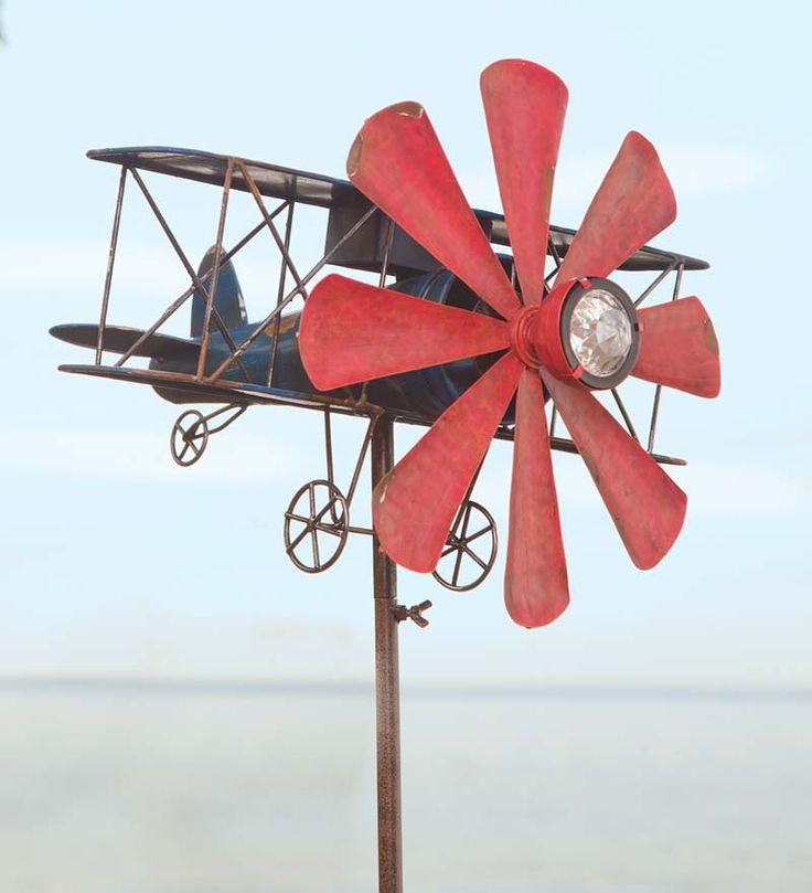 Plane Wind Spinner Will Soar Through The Garden! Our Solar Plane Wind  Spinneru0027s Red Propeller Twirls In The Breeze.
