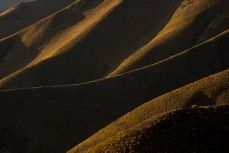 Lindis Pass in the afternoon light, South Canterbury, New Zealand.