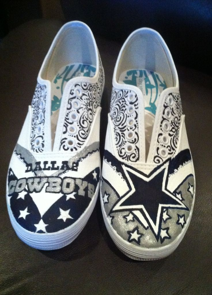 Hand Painted Dallas Cowboys Shoes by HaloHouse on Etsy, $85.00. Making these!