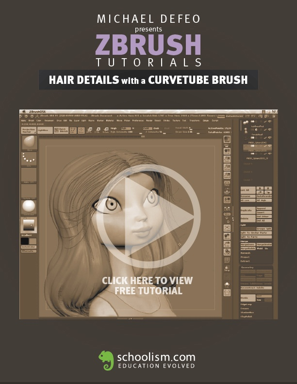 FREE ZBrush Tutorial by Michael Defeo. Hair Details with a Curvetube Brush on Schoolism.com