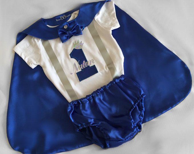Bebé azul 1 traje de cumpleaños, Principito Azul Royal, bebé 1 traje de cumpleaños, pastel romper Prop, príncipe de cumpleaños, sesión de fotos Prop